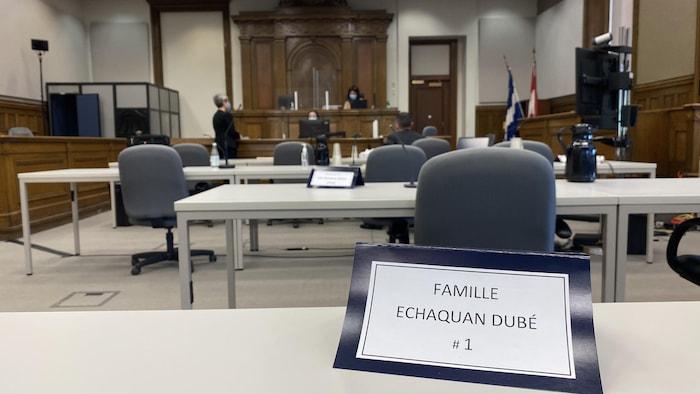 有关原住民妇女艾沙库安(Joyce Echaquan)在医院死亡事件的调查听证会现场。