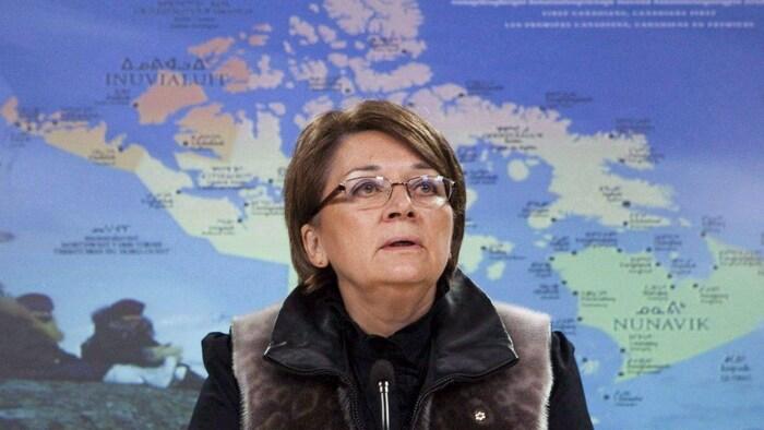 Mary Simon en su periodo de militante por los derechos inuit.