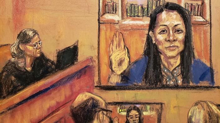 """华为财务总监孟晚舟通过视讯出席纽约法庭听证,表示""""不认罪""""。"""