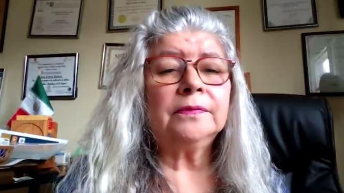 Portrait d'Ana Gloria Blanch, trésorière de la Table de concertation du Mois de l'héritage latino-américain de Montréal. Elle est assise dans son bureau, et on voit de nombreux diplômes accrochés sur le mur derrière elle.