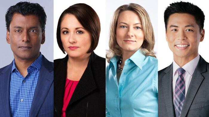 加拿大廣播公司 CBC 的主持人 (從左到右) : Ian Hanomansing, Rosemary Barton, Adrienne Arsenault 和 Andrew Chang
