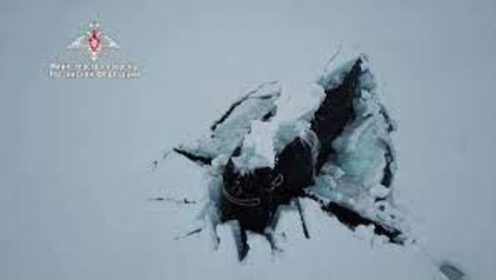 Three nuclear submarines owned by Russia maneuvered to break through several feet of Arctic ice at the same time.