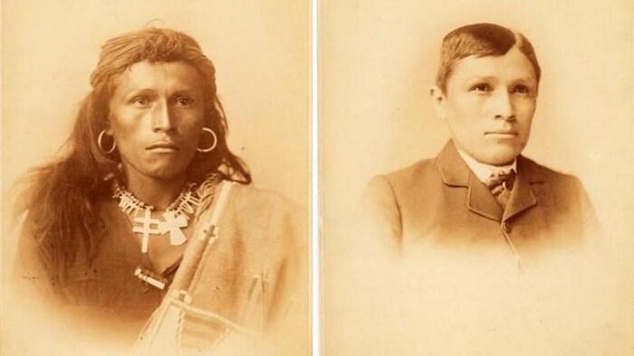 Tom Torlino en tenue traditionnelle autochtone à gauche, et en complet et cravate à droite.