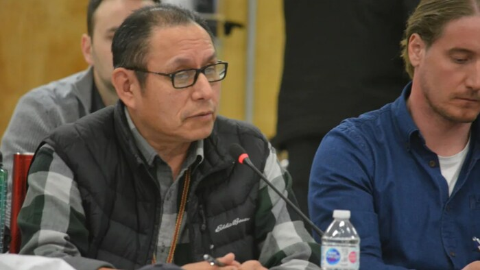 John B. Zoe speaks during a caribou management meeting in Behchoko, N.W.T., in 2020. He says the Indigenous peoples have kept the 'spirit and intent' of Treaty 11 alive for a century.