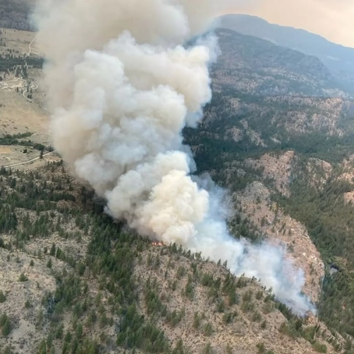 The Nk'Mip Creek wildfire is burning about six kilometres north of Osoyoos, B.C., on Osoyoos Indian Band land
