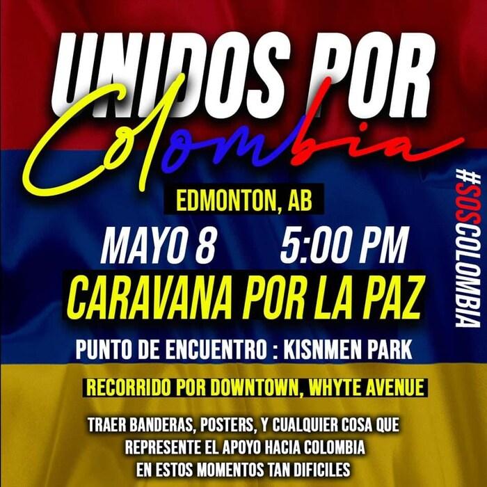 Afiche de la caravana del sábado 8 de mayo en Edmonton, Alberta.
