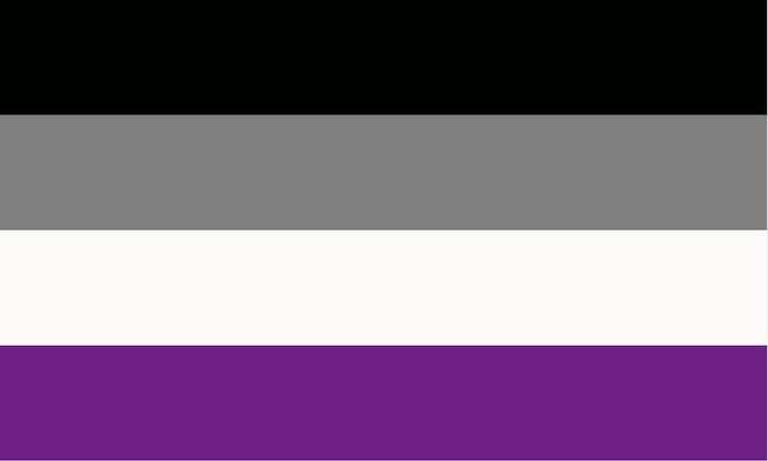 Le drapeau asexuel.