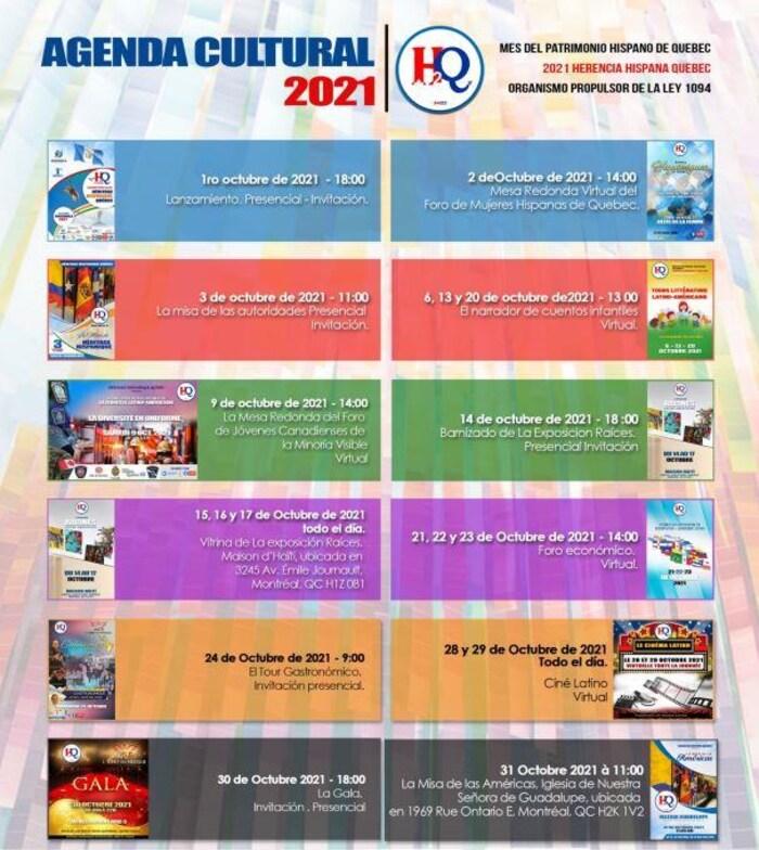Agenda culturel d'octobre de l'organisme Héritage hispanique Québec.