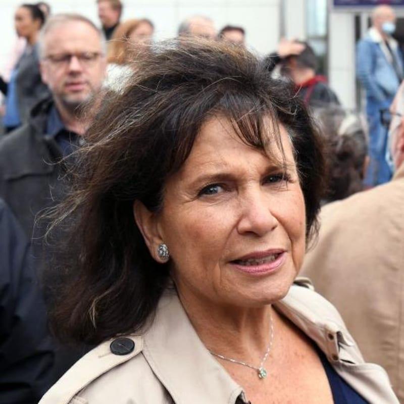 La journaliste est interviewée lors d'une manifestation à Paris.