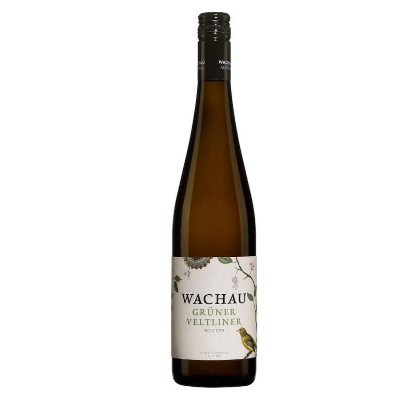 Bouteille de vin blanc à l'étiquette qui représente un oiseau et une branche fleurie.