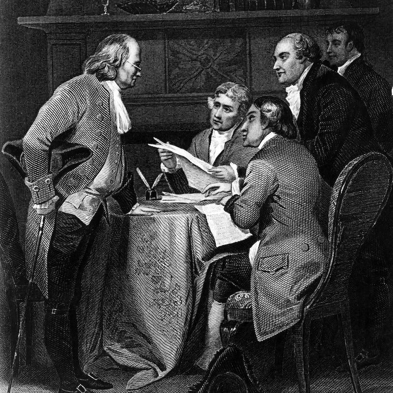 Gravure représentant Benjamin Franklin rédigeant la déclaration d'indépendance américaine avec Thomas Jefferson et John Adams.
