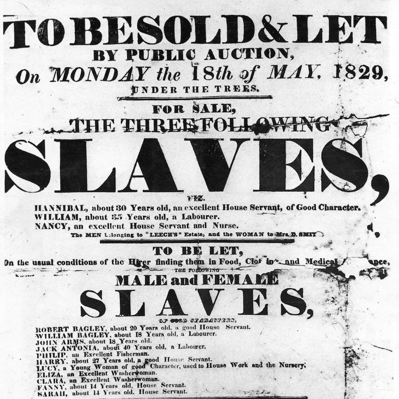 Publicité pour une vente d'esclaves.