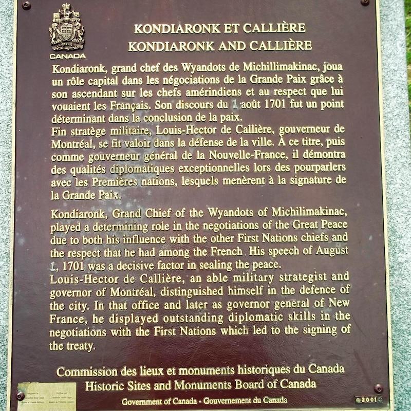 Plaque commémorative en l'honneur de Kondiaronk et de Louis-Hector de Callière.