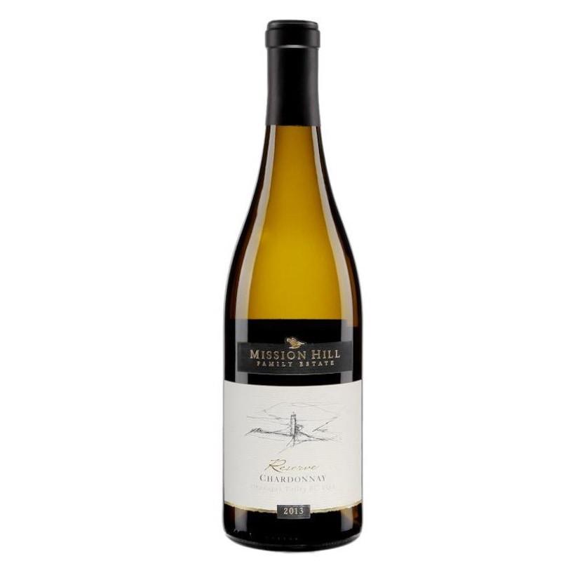 Bouteille de vin ambrée avec une étiquette représentant le dessin d'une valée.