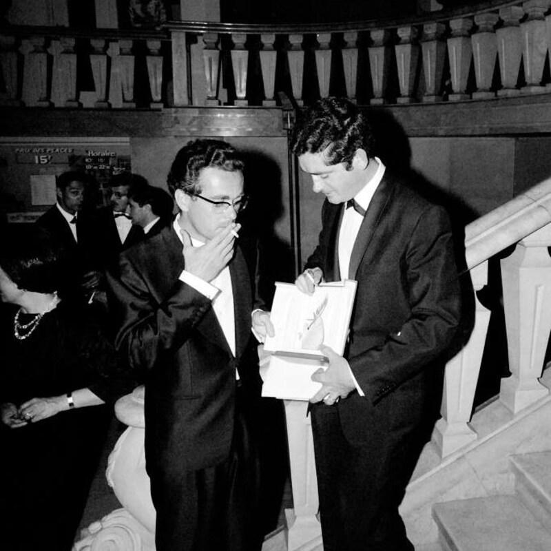 Michel Legrand et Jacques Demy. Les deux portent un tuxedo.