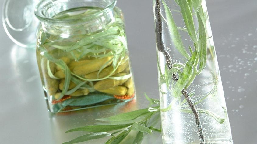Deux bocaux en verre, un avec des cornichons confits et l'autre avec de la sauge.