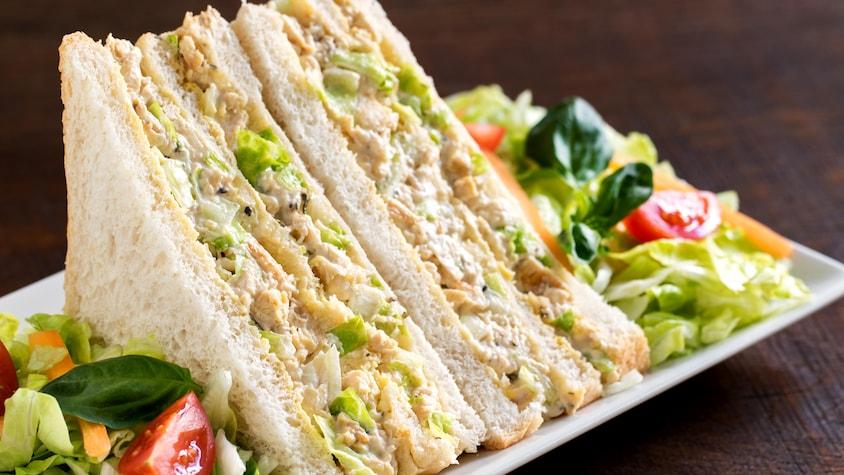 Deux pointes de sandwich au poulet dans une assiette avec de la salade.
