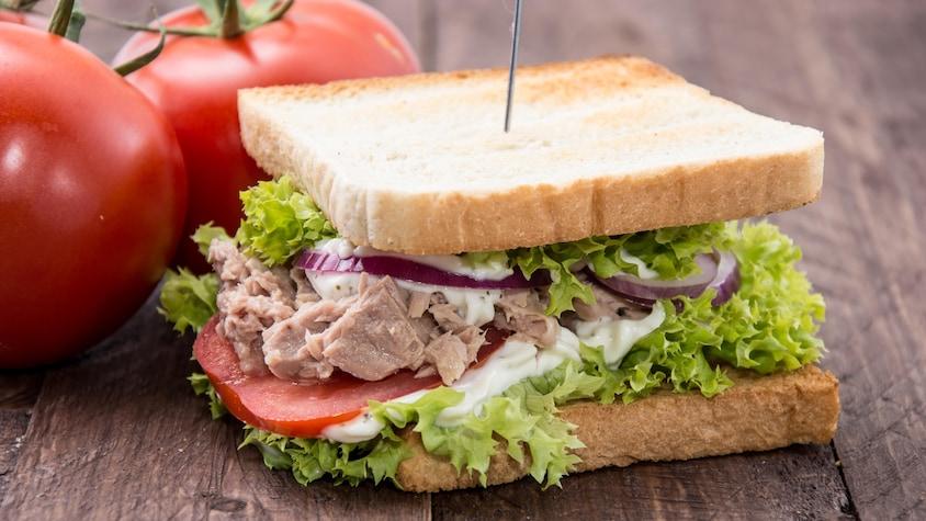 Un sandwich au thon garni de laitue, de tomate et d'oignon rouge.