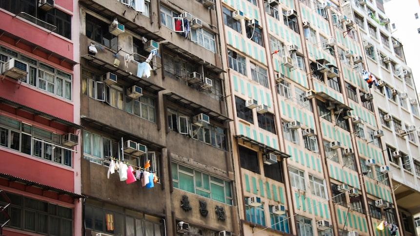 Bâtiment résidentiel de plusieurs logements à Hong Kong.