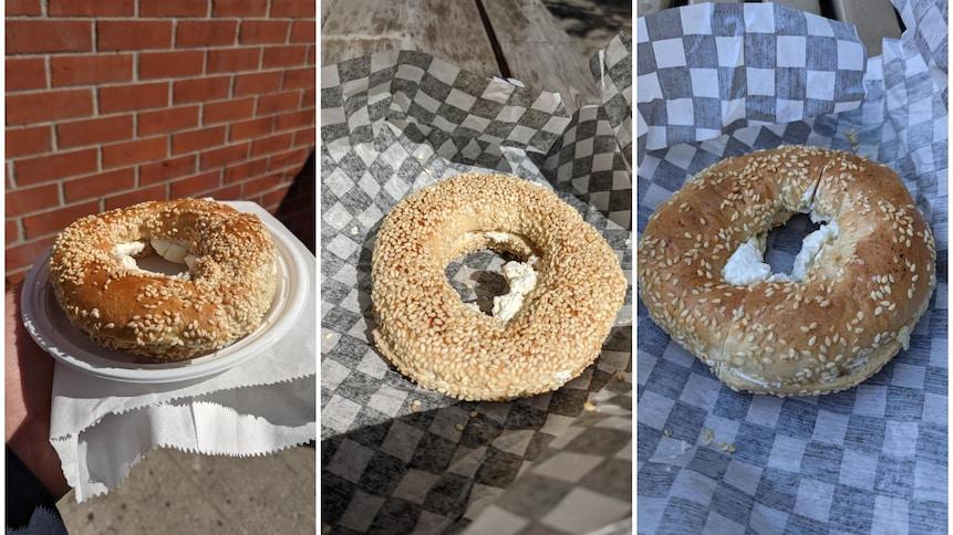 Trois bagels dans un photomontage.