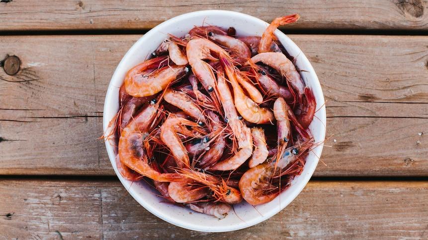 Des crevettes sont dans un bol posé sur un quai de bois.