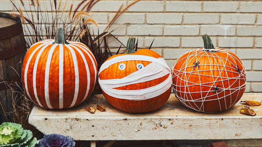Trois citrouilles décorées pour l'Halloween sur un banc de bois.