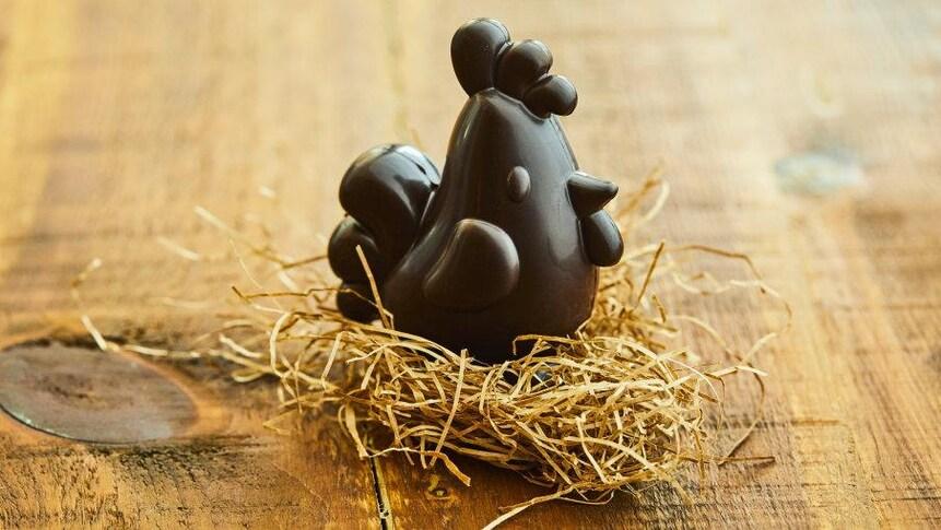 Une poule en chocolat sur un nid de paille.