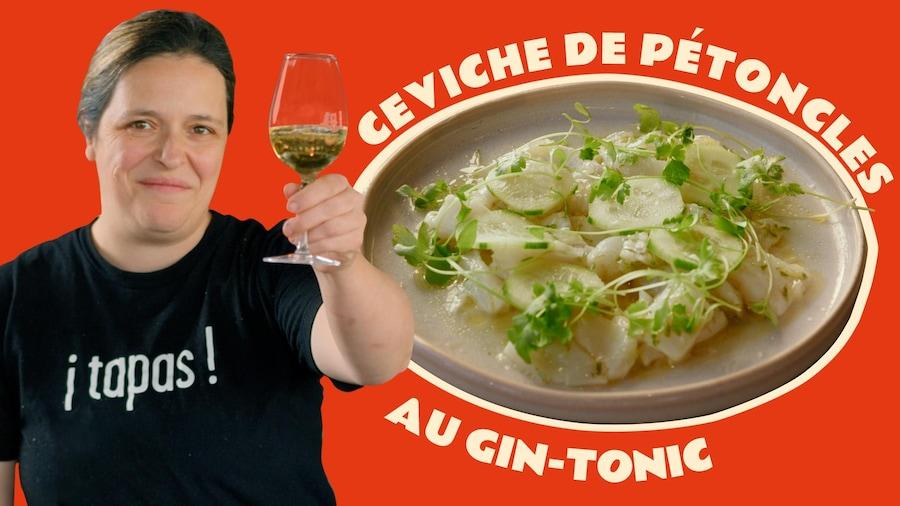 Marie-Fleur St-Pierre et son ceviche de pétoncles au gin-tonic.
