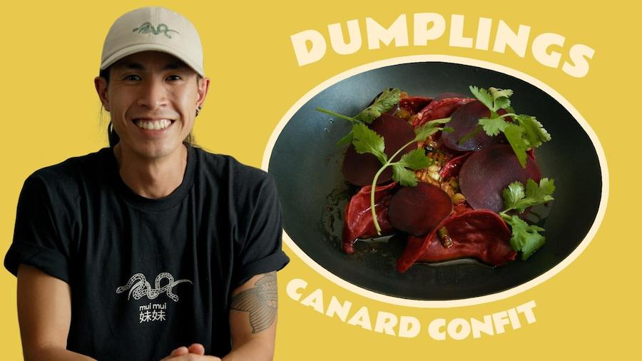 Le chef Minh Phat Tu du Mui Mui avex une assiette de dumplings au canard confit.