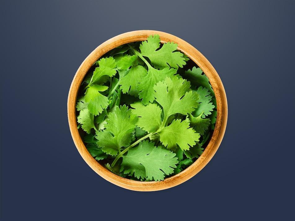 Un petit bol de feuilles de coriandre.