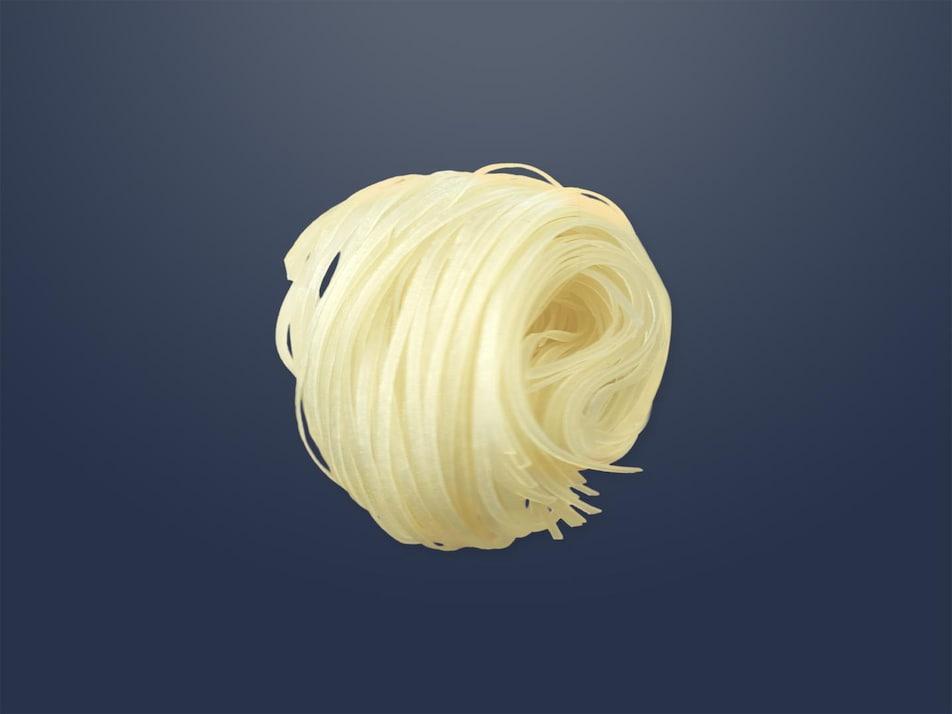 Une boule de nouilles de riz asiatiques.
