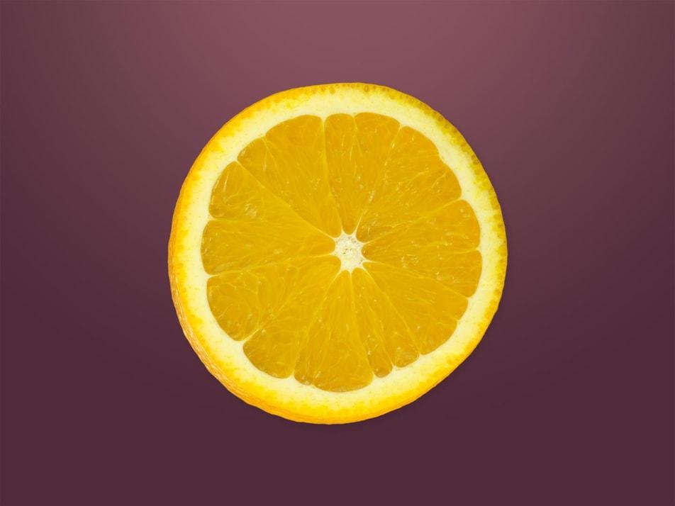 Une tranche d'orange.