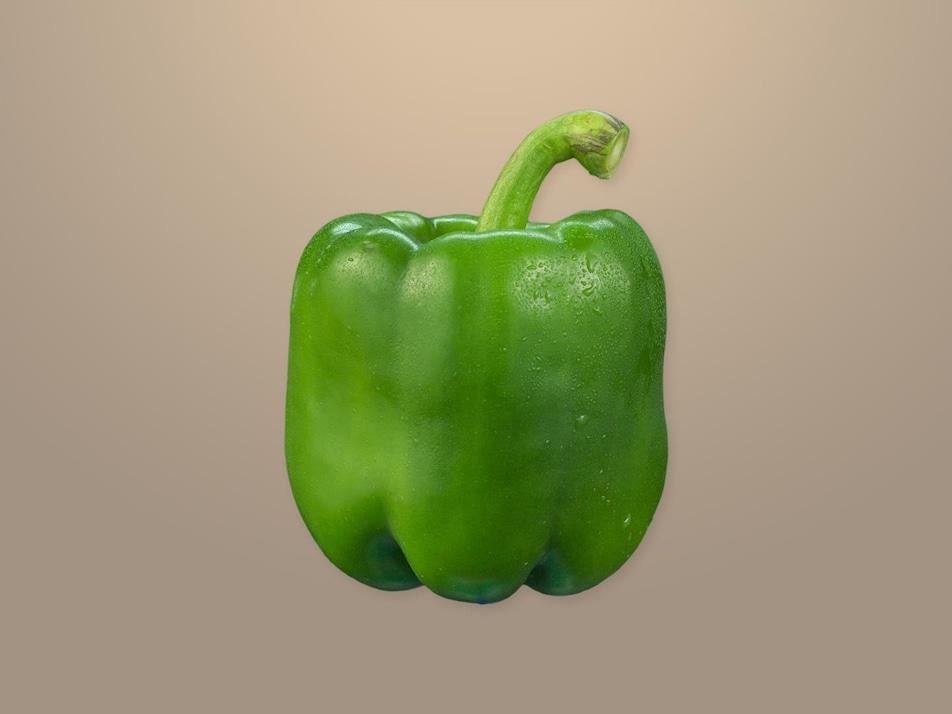 Un poivron vert entier.