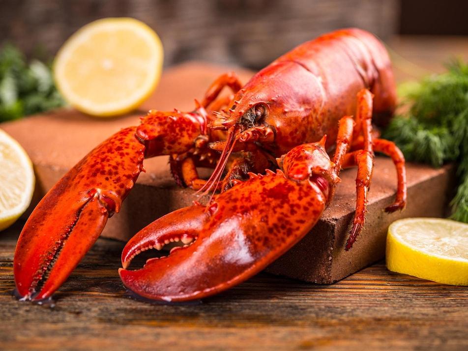 Un homard cuit servi sur une planche de bois, avec du persil et du citron.