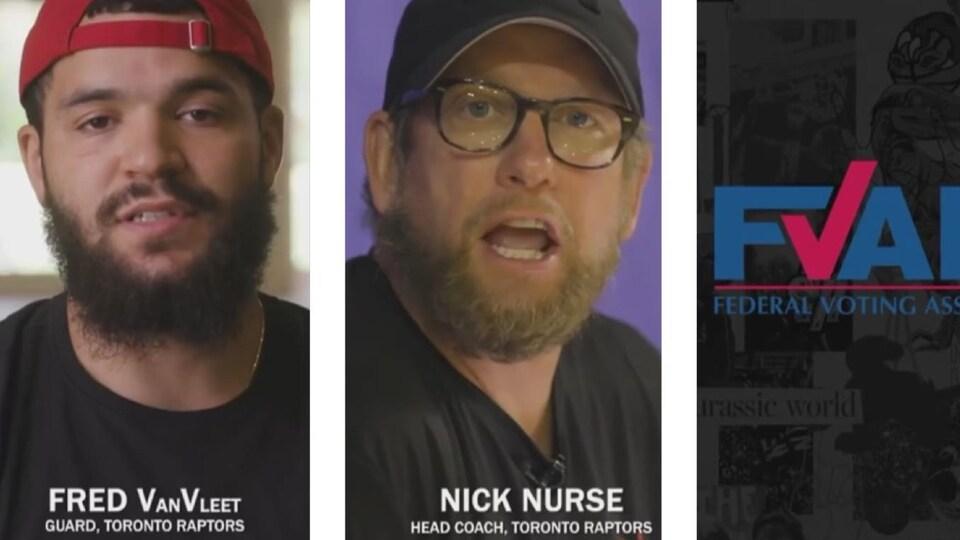 Le joueur Fred Van Vleet et l'entraîneur Nick Nurse apparaissent dans une vidéo qui fait la promotion du vote à partir de l'étranger.