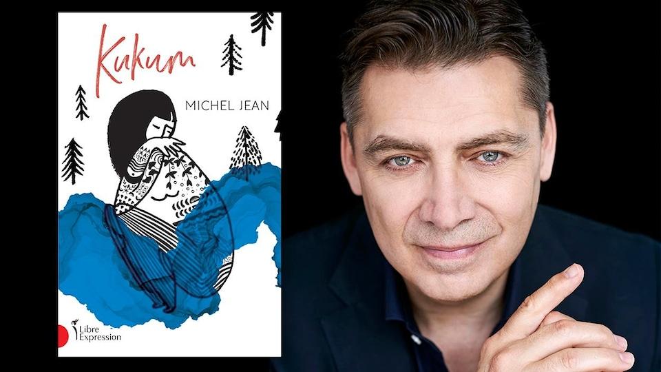 Montage visuel montrant l'auteur souriant près de la couverture de son livre.