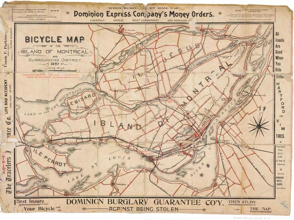 Carte du vélo dans le grand Montréal, en 1897.