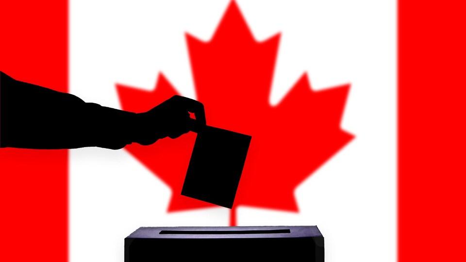 Un bulletin de vote avec un drapeau du Canada en arrière plan.