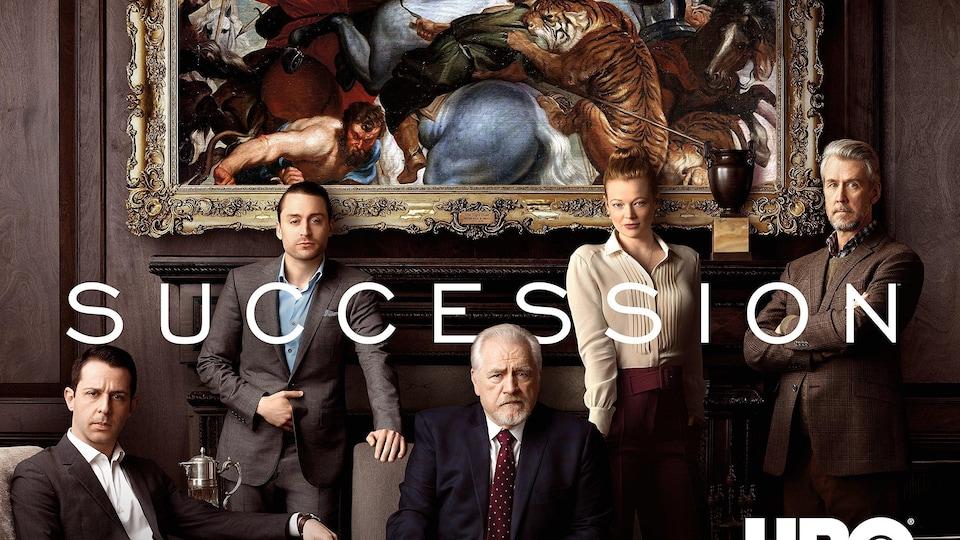 Les personnages principales de la série Sucession.