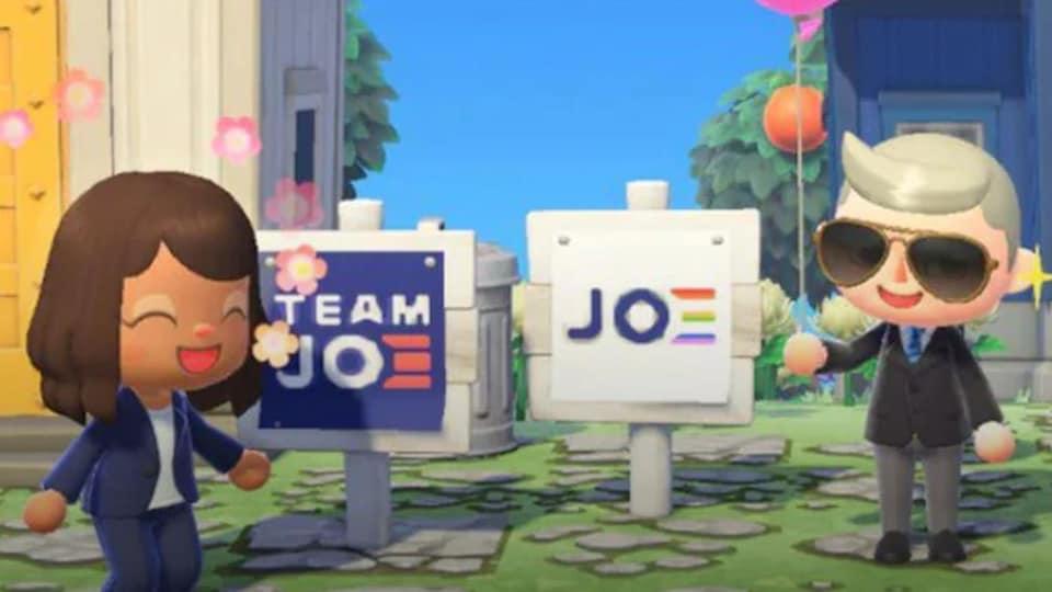 Kamala Harris et Joe Biden sont représentés par de petits personnages mignons, devant une maison bleue, dans le jeu vidéo.