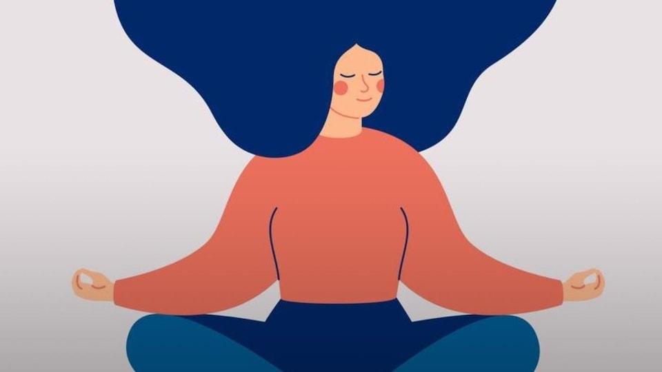 Illustration d'une jeune femme assise en tailleur, les mains posées sur les genoux.