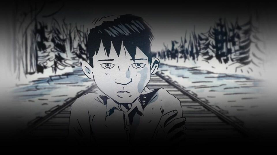 Le dessin du visage d'un enfant autochtone