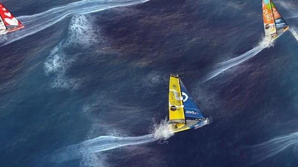 Une image de bateaux qui se font la course virtuellement.