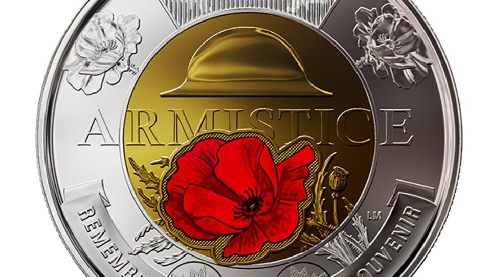 Le 2 $ soulignant le 100e anniversaire de l'Armistice mis en circulation par la Monnaie royale canadienne.