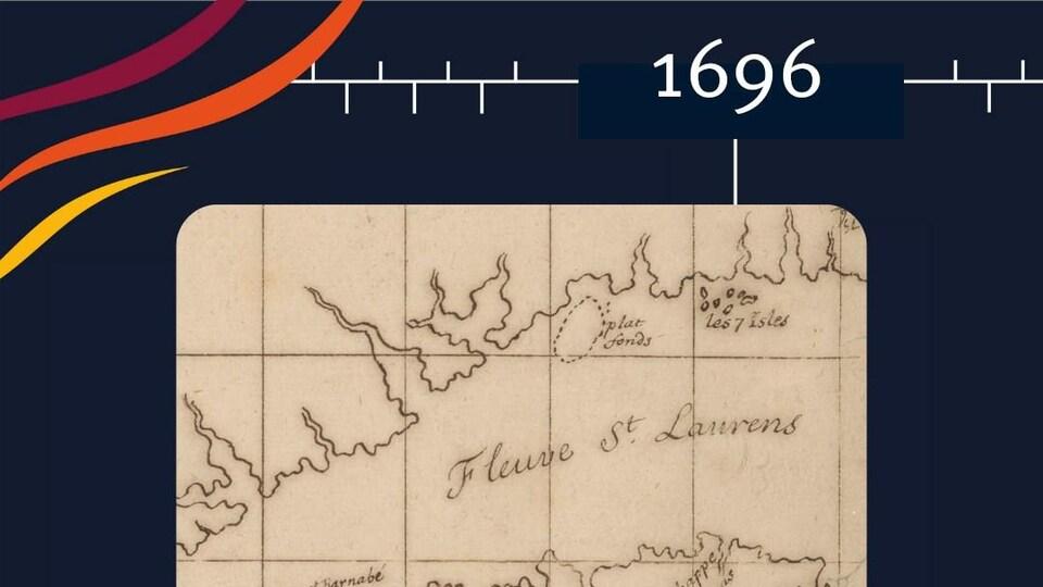 Une carte géographique représentant le fleuve Saint-Laurent en 1696.