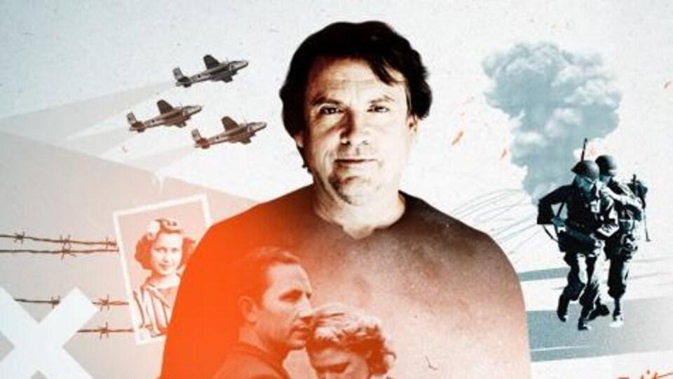 Montage photo au centre duquel un homme pose, les mains dans les poches. On voit des avions de guerre et des soldats autour de lui, et projetées sur son chandail, des photos anciennes de personnes civiles.