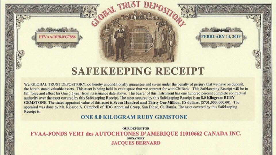 Documents indiquant la valeur d'un rubis à 731 millions de dollars américains.