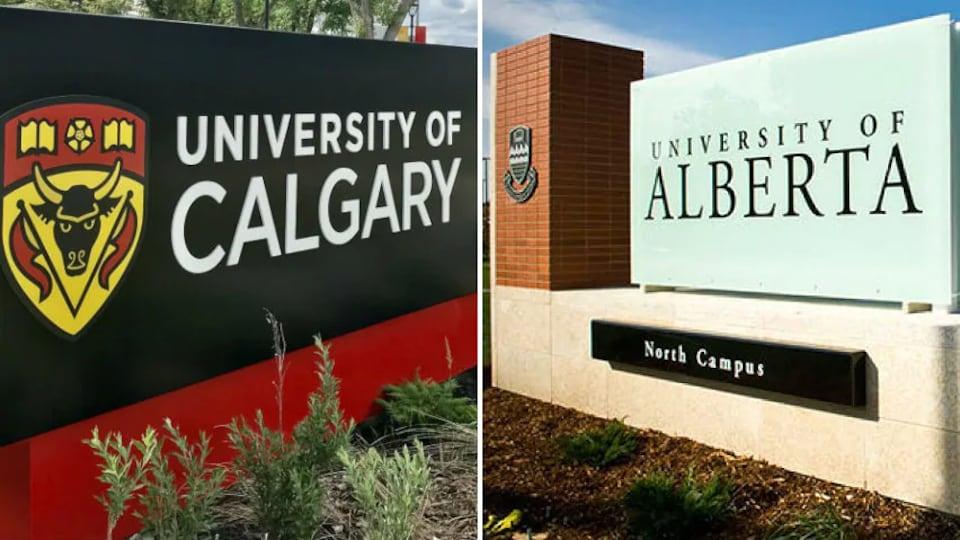 Montage photo des panneaux d'accueil de l'Université de Calgary (à gauche) et de l'Université de l'Alberta (à droite).