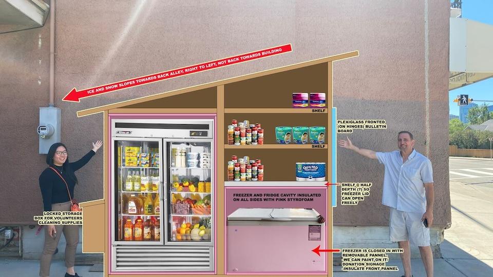 Un homme et une femme posent devant un mur sur lequel a été numériquement superposée l'image d'un cabanon contenant un réfrigérateur, un congélateur, des tablettes et des denrées.