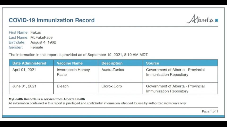 Capture d'écran d'une fausse preuve vaccinale albertaine.